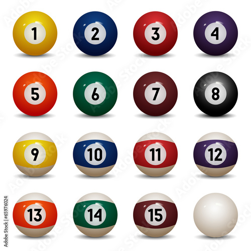 Fotografie, Tablou Isolated colored pool balls. Numbers 1 to 15 and zero ball