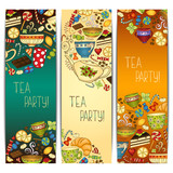 Banner templates vector collection. Tea party.