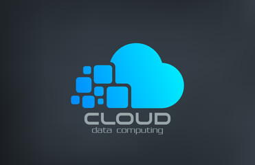 Fototapeta Cloud computing technology vector logo design template