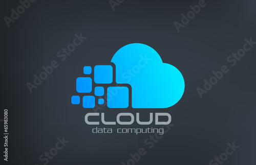 Fotografia  Cloud computing technology vector logo design template