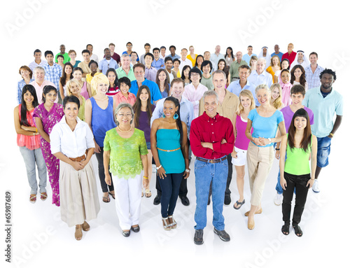 Multiethnic Group of People Isolated - 65987689