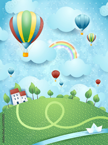 Naklejka premium Fantasy krajobraz z balonów na ogrzane powietrze i rzeki