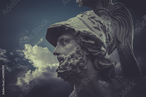 General Pericles, Greek sculptures over clouds background Canvas Print