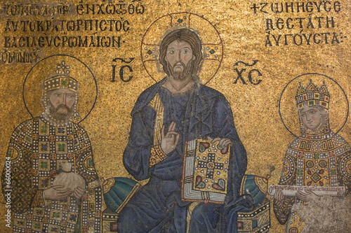 Mosaic detail Jesus Christ with Emperor Constantine and Zoe Canvas Print