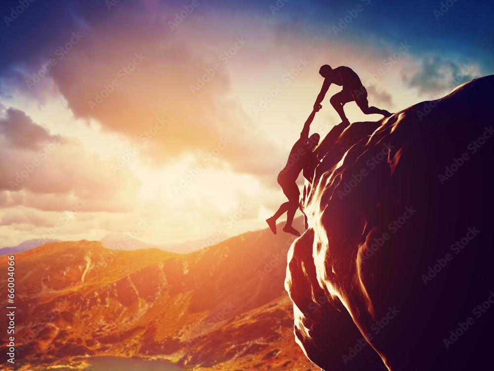 Fototapety, obrazy: Hikers climbing on mountain. Help, risk, support, assistance