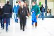 People Rushing through Corridor, Motion Blur