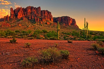 Fototapeta Desert sunset with mountain near Phoenix, Arizona, USA