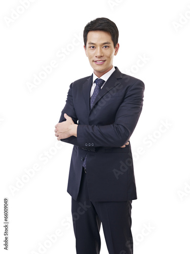 Photo  portrait young asian businessman, isolated on white