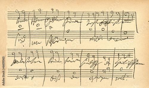 Photo Beethovens autograph (IX symphony-Freude, schöner Götterfunken)