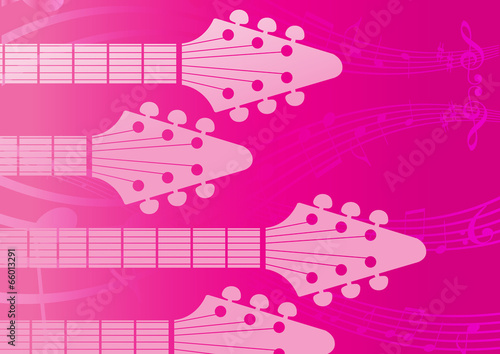 Staande foto Kasteel vector pink background with electric Guitar headstocks
