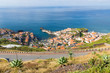 Aerial view harbor of Camara do Lobos at Madeira Island