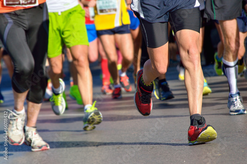 Fotografie, Obraz  Marathon running race, people feet on road