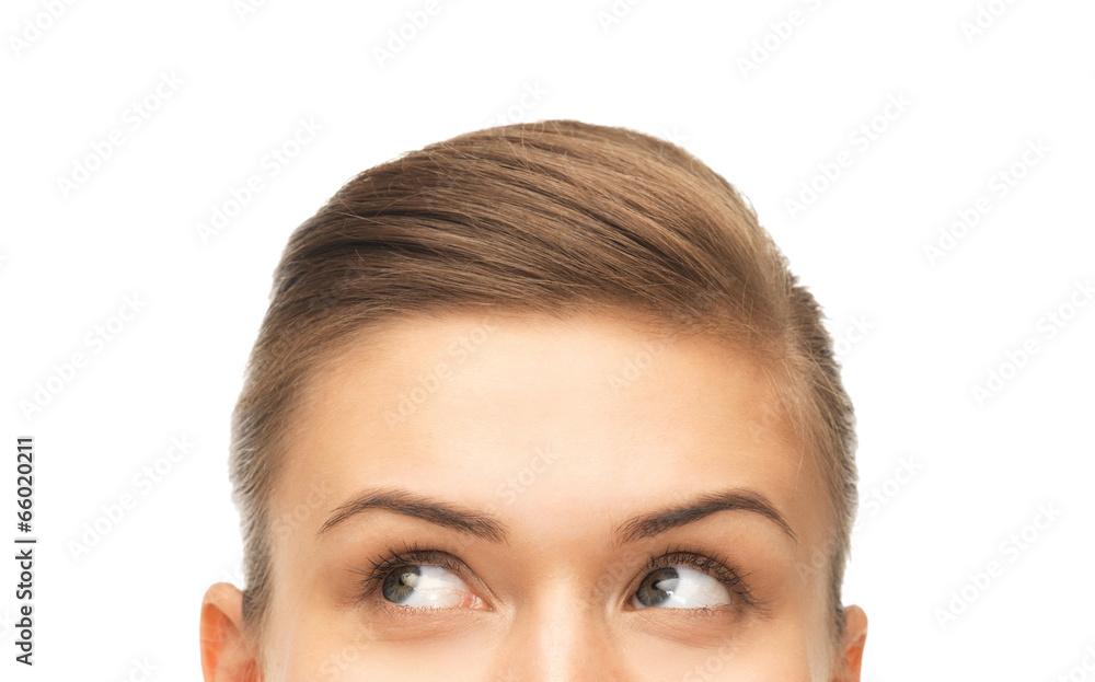 Fototapeta close up of beautiful female eyes looking up