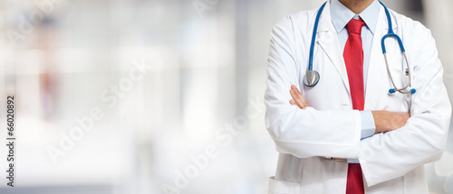 Doctor in front of a bright background