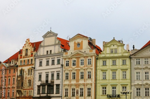 Photo Stands Old Town Prague Houses