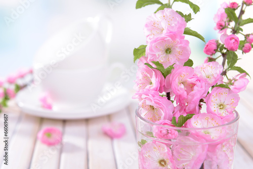Foto op Plexiglas Magnolia Beautiful fruit blossom in glass on table on light background