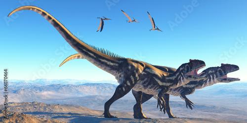 Allosaurus on Mountain Canvas Print