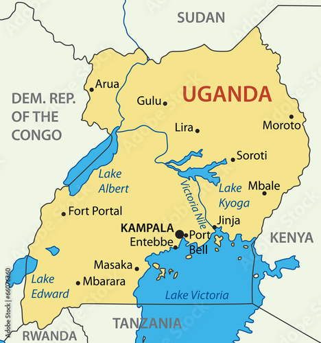 Republic of Uganda - vector map Wall mural