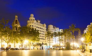 Fototapeta na wymiar Placa del Ajuntament in summer evening. Valencia