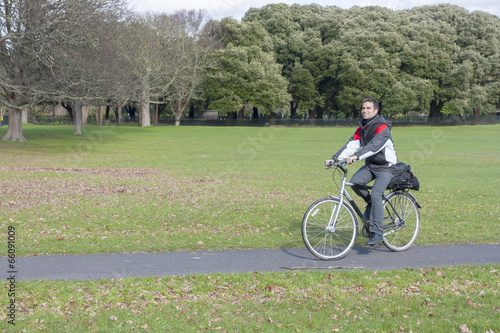 biker in the park Poster