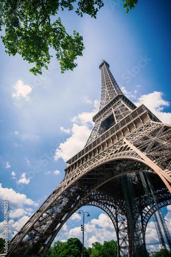 Deurstickers Eiffeltoren Eiffel Tower against blue cloudy sky. Paris, France.