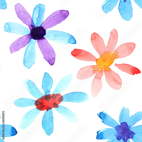 Cotton fabric Watercolor flowers seamless