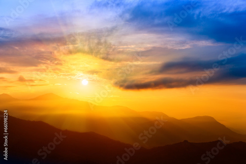Foto op Plexiglas Zonsondergang Beautiful Sunrise over The Himalayas, Nepal