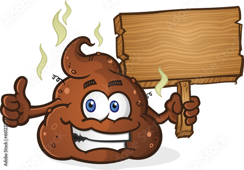 Photo  Poop Pile Cartoon Character Thumbs Up and Holding Sign