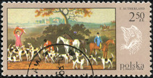 Stamp Printed In The Poland Shows Fox Hunt, By T  Sutherland