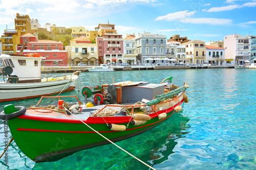 Boat. Agios Nikolaos. Crete Tapéta, Fotótapéta