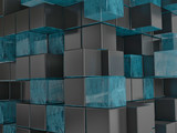 Abstract illustration of gray and turquoise cubes