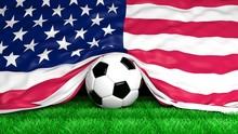 Soccer Ball With Usa Flag On F...