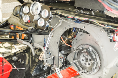 Poster Motorsport powerful race car interior closeup