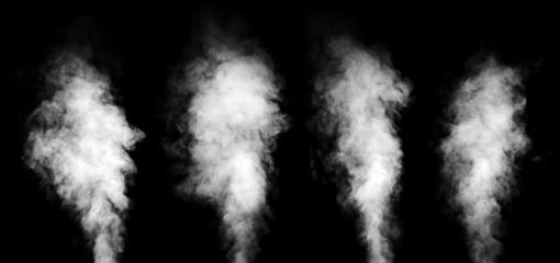 Set of white steam on black background.