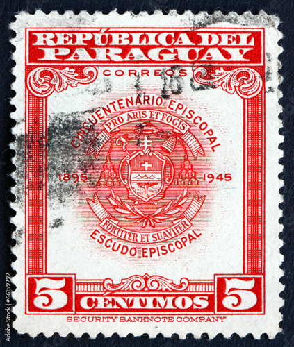 Postage stamp Paraguay 1948 Archbishopric Coat of Arms, Asuncion Wallpaper Mural