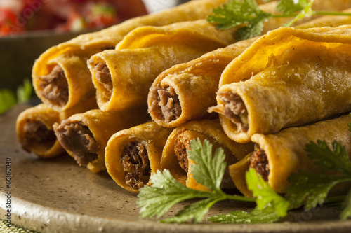 Homemade Mexican Beef Taquitos Canvas