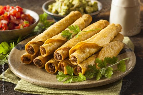 Fotografering  Homemade Mexican Beef Taquitos