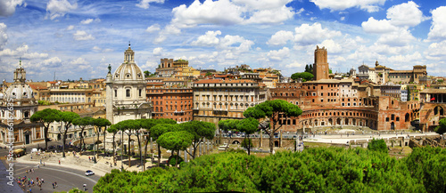 Poster Rome antique Rome -Trajan's Market panorama