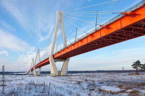 In de dag Brug Winter view of bridge through Oka River