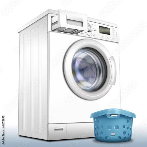 Photo  Waschmaschine mit Wäschekorb freigestellt