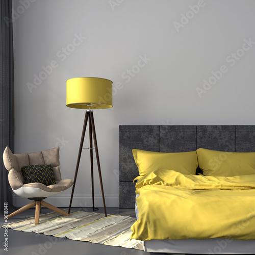 Gray bedroom and yellow decor