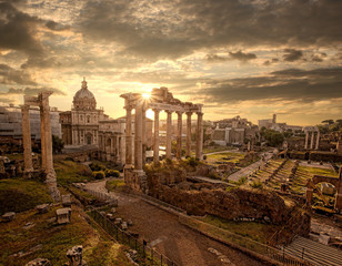 Fototapeta Panorama Miasta Famous Roman ruins in Rome, Capital city of Italy
