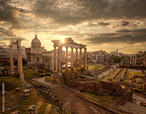 Famous Roman ruins in Rome, Capital city of Italy Poster