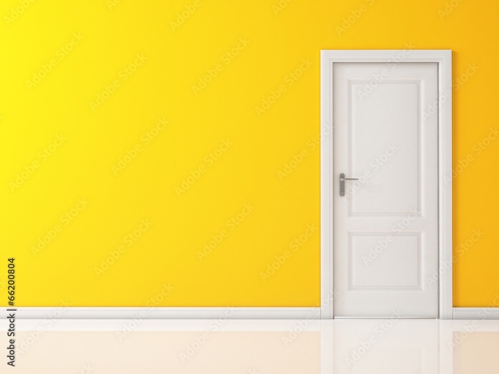 Fototapety, obrazy: Closed White Door on Yellow Wall, Reflective Floor