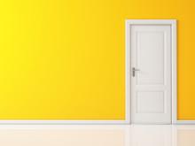 Closed White Door On Yellow Wall, Reflective Floor