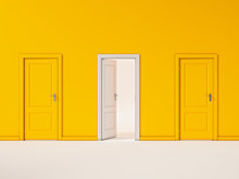 White Door On Yellow Wall, Ill...