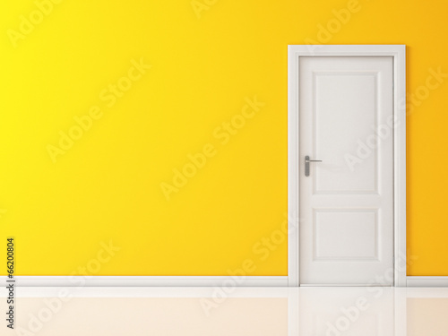 Closed White Door on Yellow Wall, Reflective Floor
