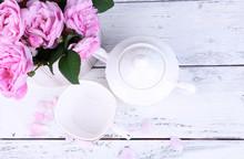 Breakfast Tea With  Teapot Of Fresh Pink Garden Roses