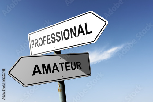 Professional and Amateur directions. Opposite traffic sign. Wallpaper Mural