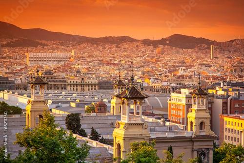 Foto op Canvas Barcelona beautiful sunset in Barcelona